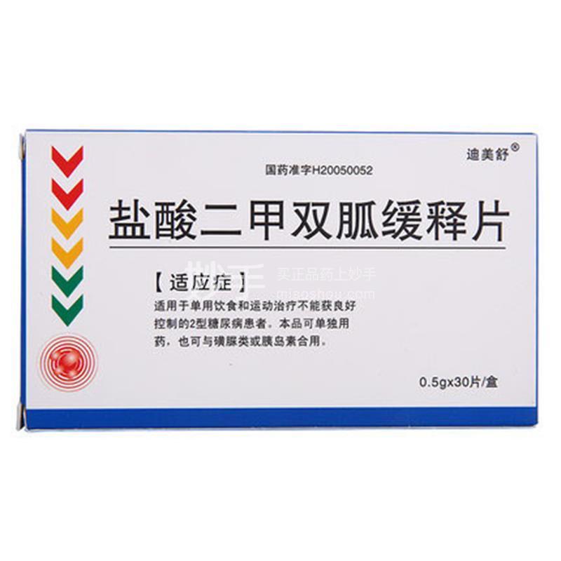 【迪美舒】 盐酸二甲双胍缓释片 0.5g*30片/盒
