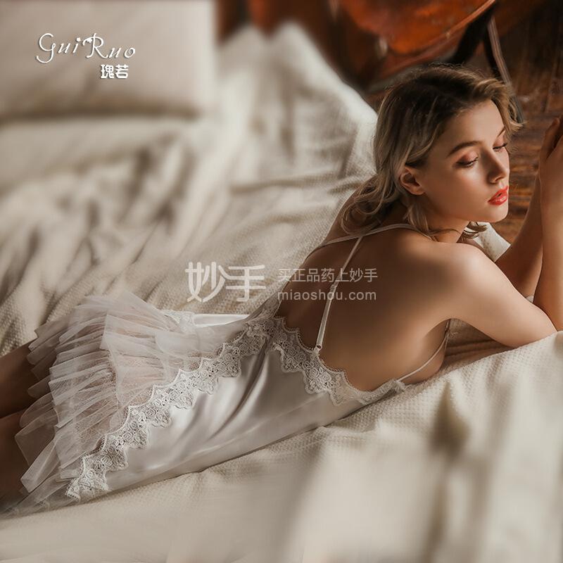 瑰若 露背蛋糕裙吊带睡裙619白色