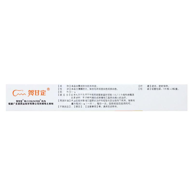贺甘定 拉米夫定片 0.1g*14片
