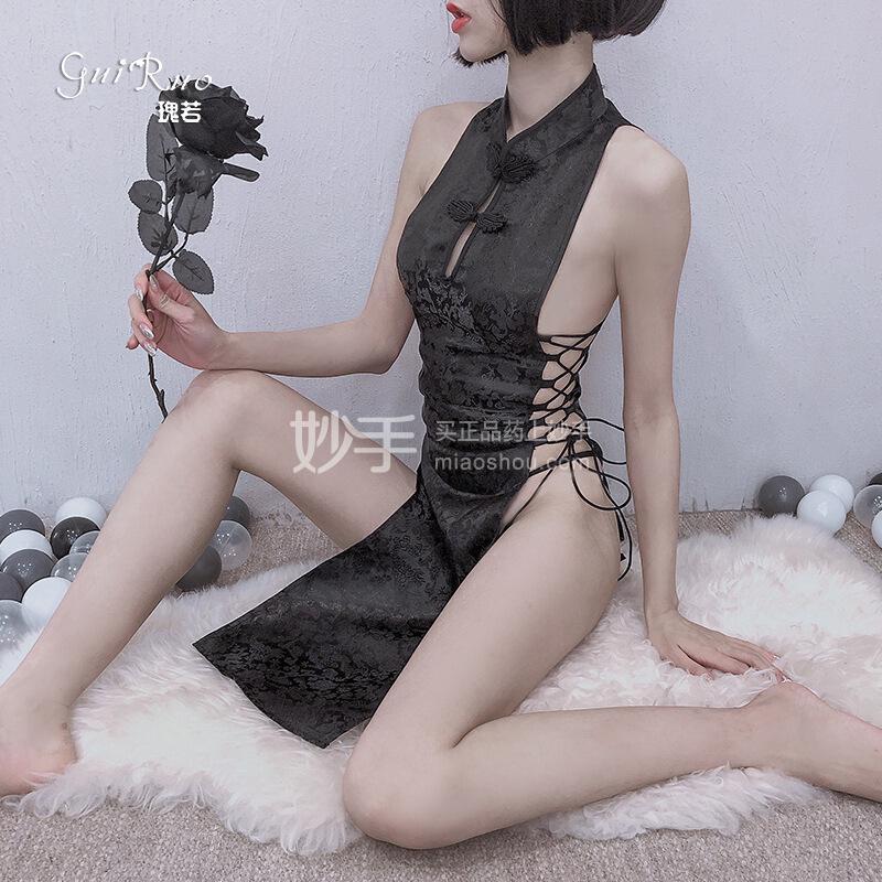 瑰若 侧边高开叉镂空系带性感露沟旗袍长款连衣裙617#黑色